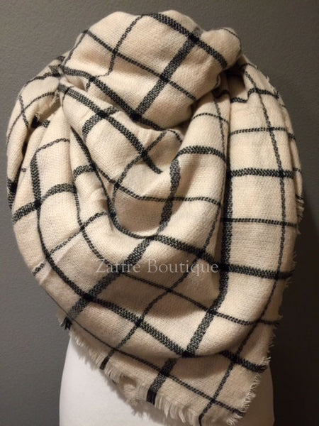 Off White And Black Windowpane Plaid Oversized Blanket Scarf