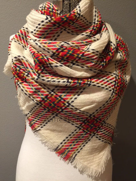 Ivory with Red Yellow Green and Black Windowpane Plaid Oversized Blanket Scarf