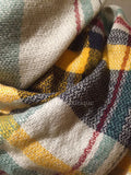 Yellow Navy Green White and Red Plaid Oversized Blanket Scarf