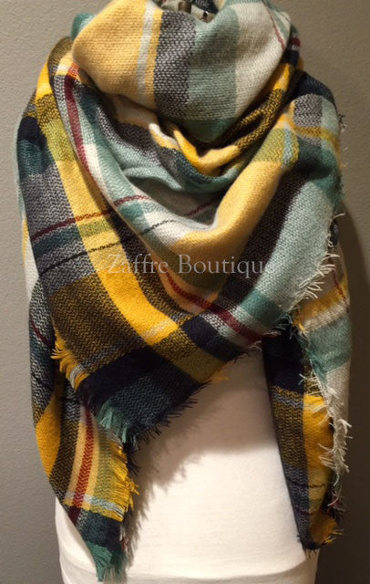 9a11e324d1043 Yellow Navy Green White and Red Plaid Oversized Blanket Scarf