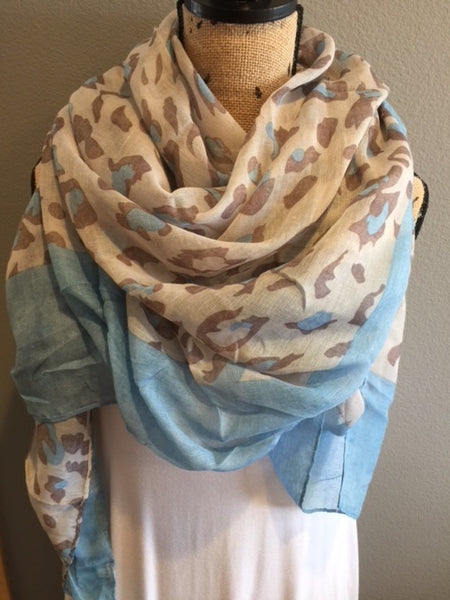 Leopard Scarf - Light Blue