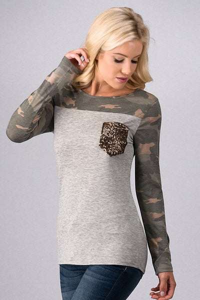 Camouflage Color Block Top with Sequin Pocket