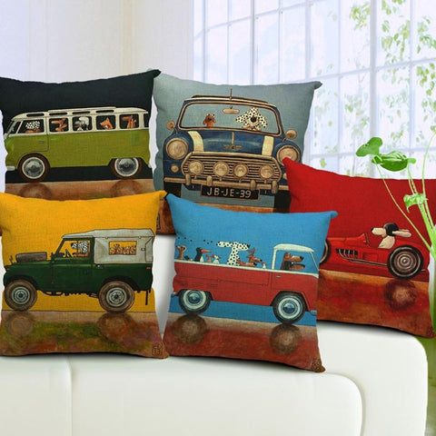 Cartoon Dogs Driving Vintage Cars Pillow Cover