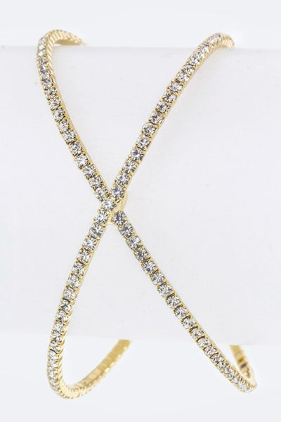 Crossed Crystal Open Bangle Gold