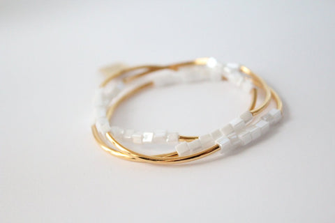6 Wrap Bracelet Collection (White and Gold)