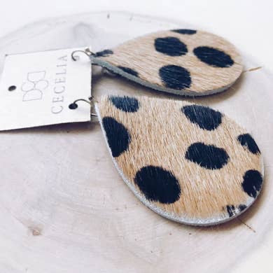 Large Leather Teardrop Earring Collection (Leopard)