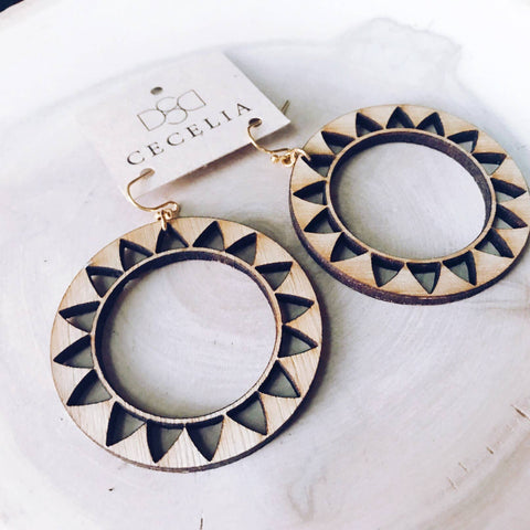 Hoop Wood Earring Collection Sunflower
