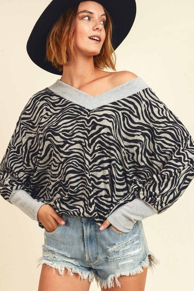 Zebra Print V Banded Neck Top