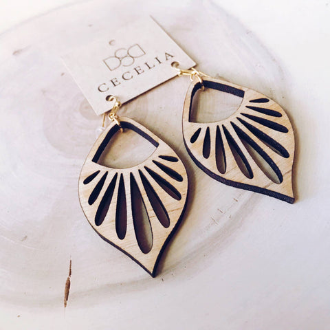 Feather Wood Earrings Sunburst