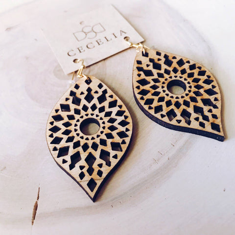 Feather Wood Earrings Mandala