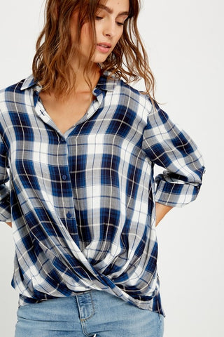 Blue Plaid Twist Front Top