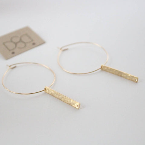 Hoop Earrings Collection Gold Filled Rectangle Pendent Hoop