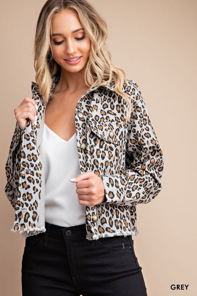 Leopard Printed Cropped Denim Jacket