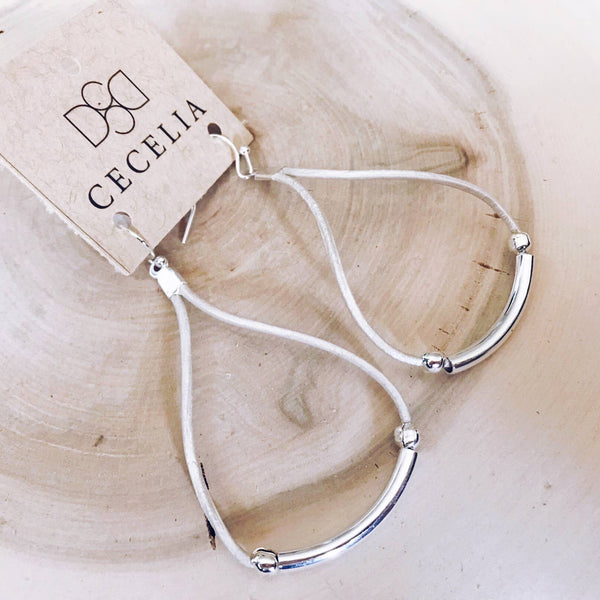 Leather Cord Earrings (Pearl & Silver)