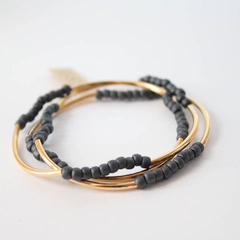Triple Wrap Bracelet Collection (Gold and Matte Gray TOHO)