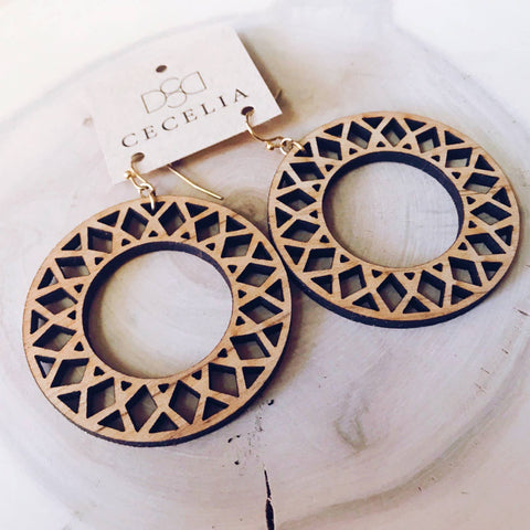 Hoop Wood Earring Collection Mandala