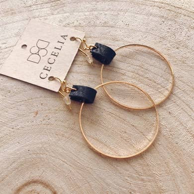 Leather Hoop Earrings (Natural Black)