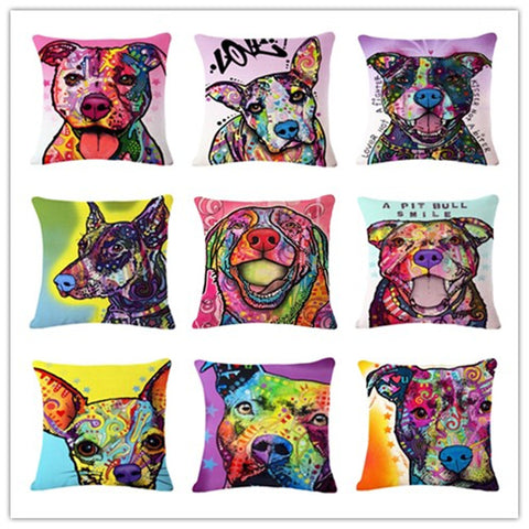 Cartoon Style Colorful Dog Printed Pattern Throw Pillow Home Decor