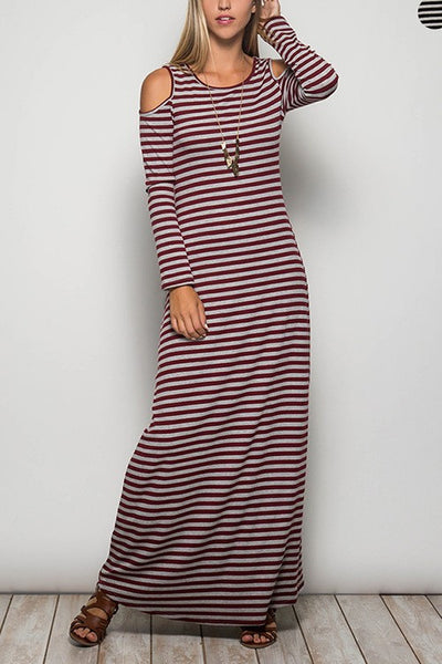 Cold Shoulder Maxi Dress with Stripes