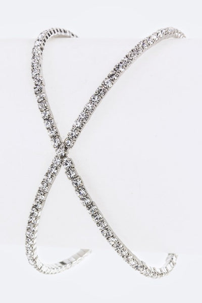 Crossed Crystal Open Bangle Silver