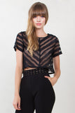 Black Sheer Chevron Crop Top