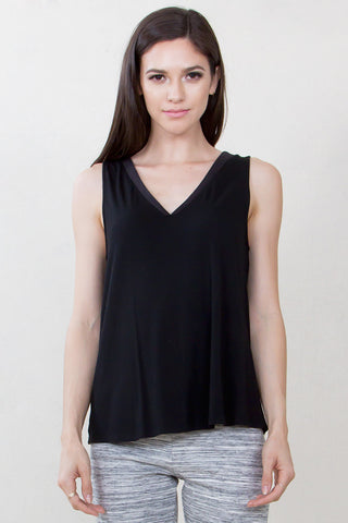 Black V neck Faux Suede Trim Top