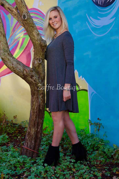Gray Long Sleeve Midi Shift Dress
