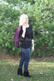 Plum and Black Quilted Outerwear Vest