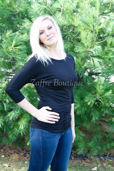 Black Dolman Sleeve Cinched Side Tunic Top