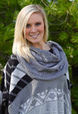 Black and Gray Cowl Neck Poncho