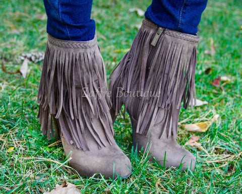 Fringe Booties in Taupe Brown Suede Heels