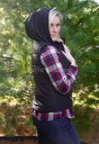 Black Puffer Vest Faux Fur with Hoodie