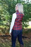 Red and Navy Plaid Zip Vest