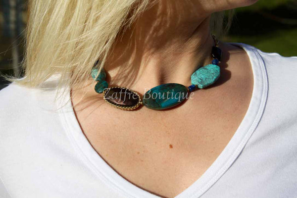 Turquoise Teal Ornate Tiered Necklace Set