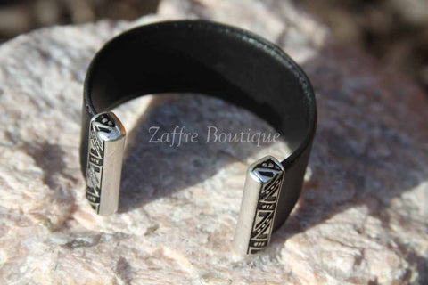 Black with Silver Tribal Design Bar Leather Cuff Bracelet