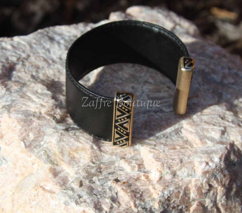 Black with Gold Tribal Design Bar Leather Cuff Bracelet