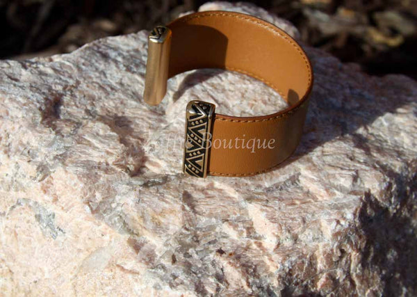 Brown Tribal Design Bar Leather Cuff Bracelet
