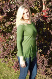 Olive Green Fringed Sweater Long Sleeve Crewneck