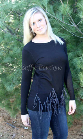 Black Fringed Sweater Long Sleeve Crewneck