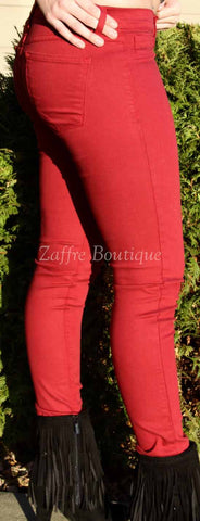 Cherry Colored Denim Skinny Jeans