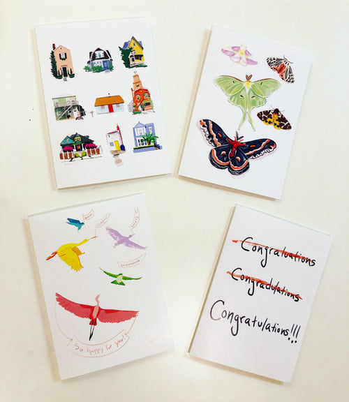 Set of four new cards, occasion and just because, colorful card--Greeting Card
