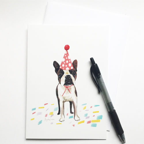 Birthday Pup, Boston Terrier portrait Happy Birthday card --Greeting Card