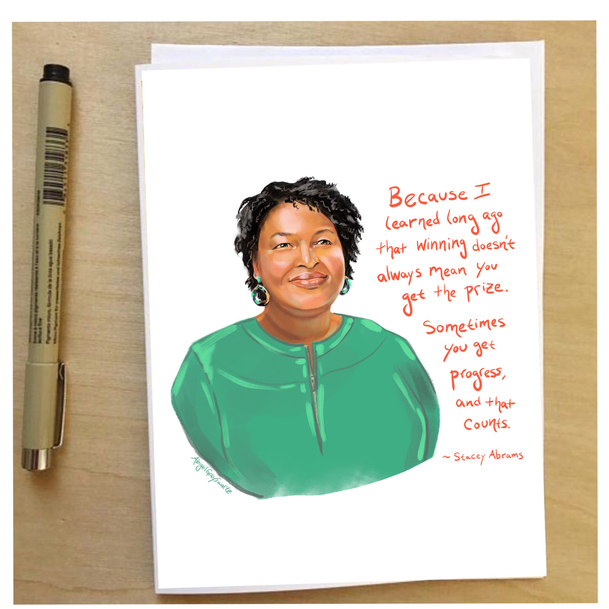 Stacey Abrams Portrait, Card--Greeting Card