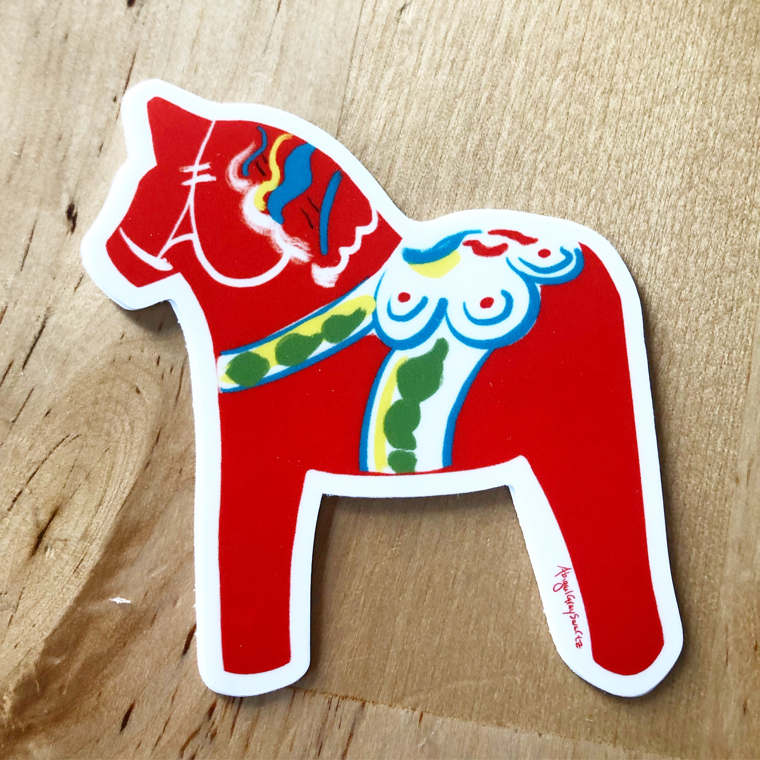 Dala horse, Swedish red horse STICKER - Stickers & Magnets