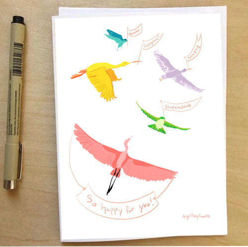 Birds Celebrating, congratulations, baby shower, new home, celebration card --Greeting Card