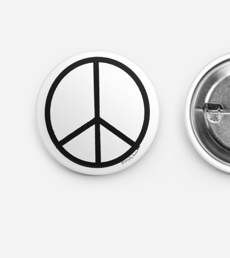 Black Peace Sign, Pin Swag, button- Pins