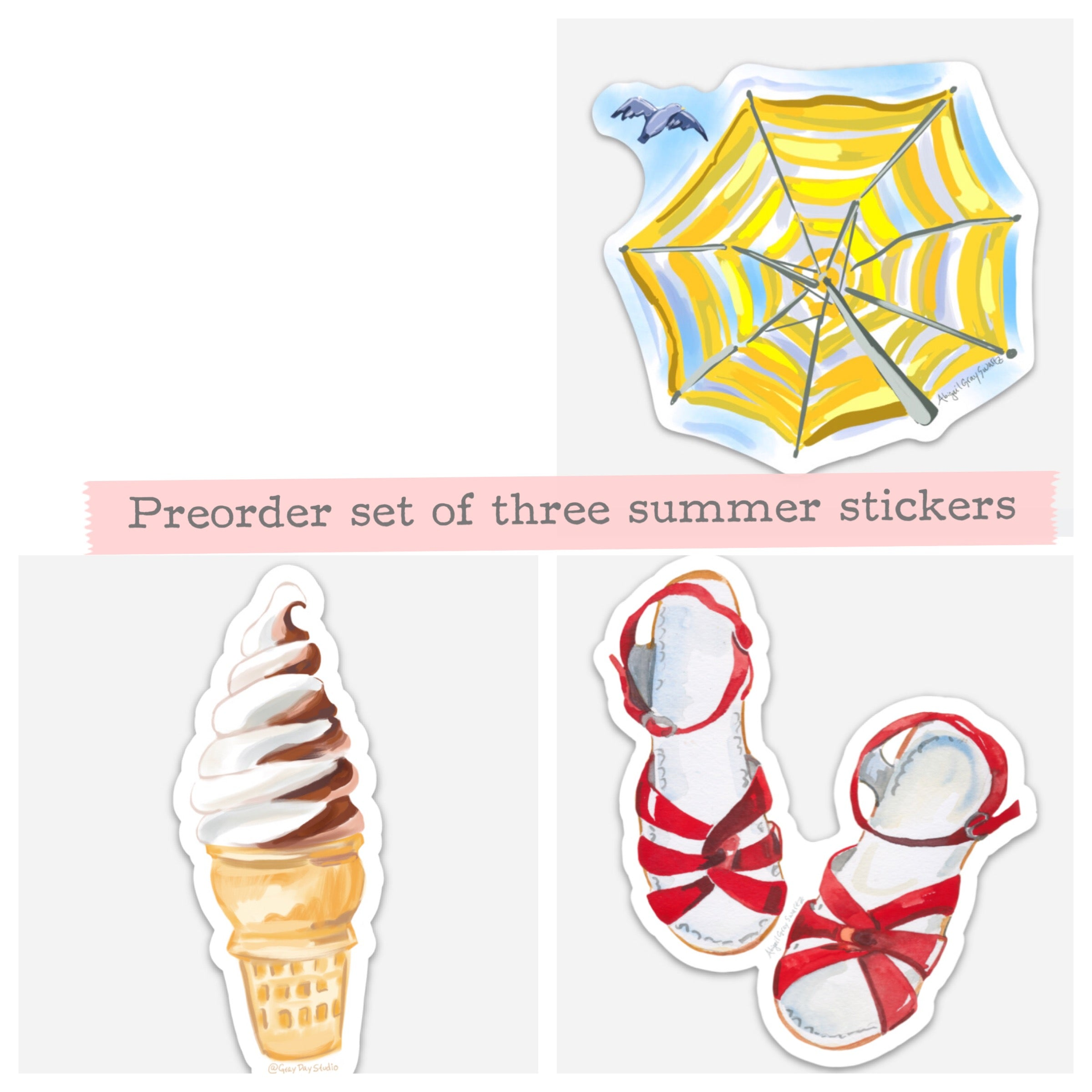 Set of three summer stickers, Stickers & Magnets