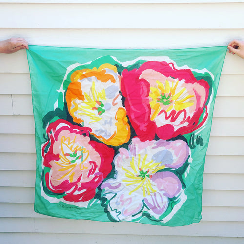 Pre-order, Peonies large square cotton Scarf || Scarves