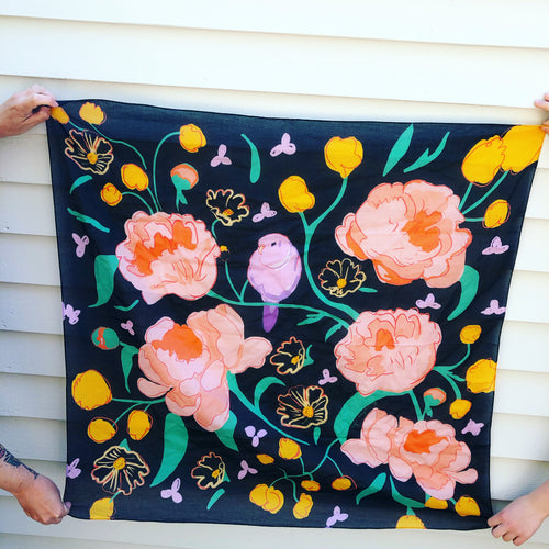 Pre-order, Bird and Flowers large square cotton Scarf || Scarves