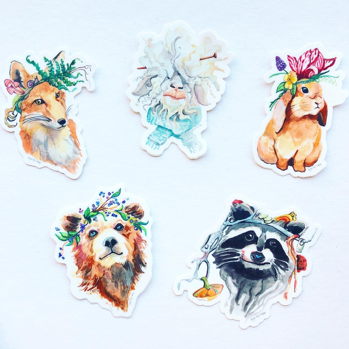Bunny in flowers, portrait, animal STICKER, woodland creature- Stickers & Magnets
